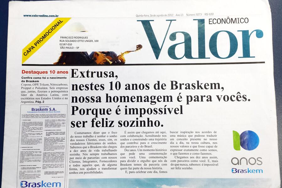 Jornal Valor - Homenagem Brakem Extrusa